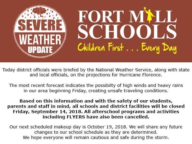 Fort Mill School District Closed